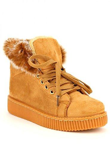 Cendriyon, Basket boots Fourrée CINK MO Chaussures Femme Caramel