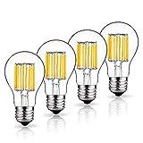 LuxVista A60 E27 LED Birne 10W Antik Glühbirne Glühlampe Warmweiß 2700K Edison Schraube Sockel (4-Stück, Nicht Dimmbar)