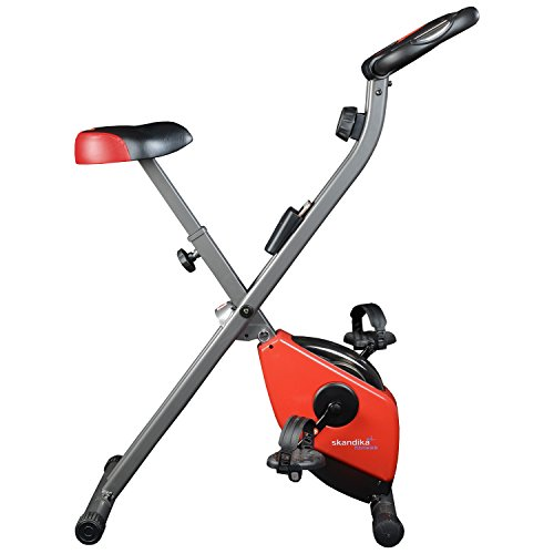 skandika Foldaway X-1000 Fitnessbike Heimtrainer klappbar mit Handpuls-Sensoren, 8-stufiger Magnetwiderstand, LCD Display ohne Rückenlehne