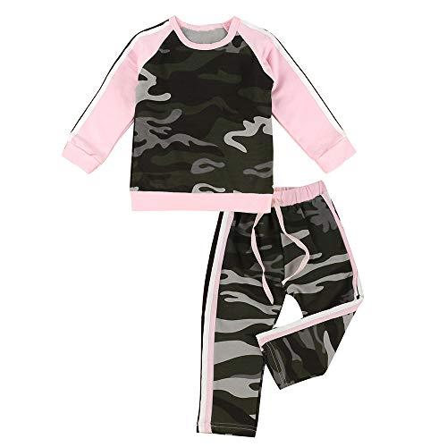 Like man Baby Mädchen Camouflage Langarm Shirt + Hose Trainingsanzug Outfit Sportanzug