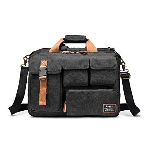 LOKASS 17,3 Zoll Laptoptasche Taktische Notebooktasche Militärische Aktentasche Business Segeltuch Handtasche, große Umhängetasche Dienstreise Schultertasche für Laptop/Notebook / MacBook