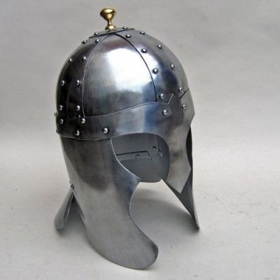 India Overseas Trading Co Arthurian Helmet Helm mit Messing Top Knot Larp Sca (Sca Kostüme)