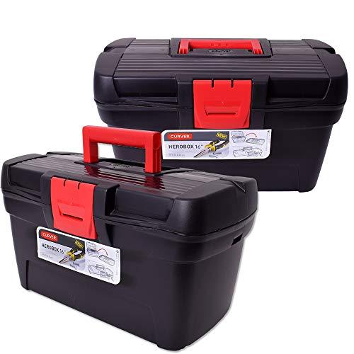 """teprovo Curver 2 Stück Herobox 16\"""" Werkzeugkoffer Leer Werkzeugkasten Werkzeugkiste Werkzeugbox Toolbox Kunststoff Schwarz"""