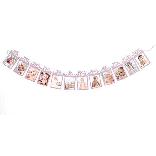 Upxiang 1-12 Monat Neugeborene Baby Record Foto Banner Monatliche Foto Wand Fotogalerie Bilderrahmen Set, Bild Fotorahmen mit Clips, Kinder Geburtstag Geschenk Dekorationen (Rosa) (Kleinkind Kostüm Diy)