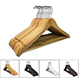 RSR Hangers 25 x Kleiderbügel Holz Natur Holzkleiderbügel mit Hosensteg