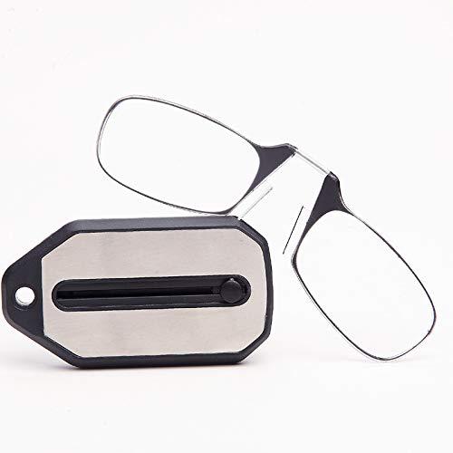 ZTM Armlose Lesebrille Nase tragbare presbyopische Brille Mini Brillen mit Schlüsselbund Fall dünn für Männer,1.0