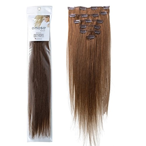 Emosa 8Pcs 90g Full Head Clip In Silky Soft Remy Real Human Hair Extensions 20