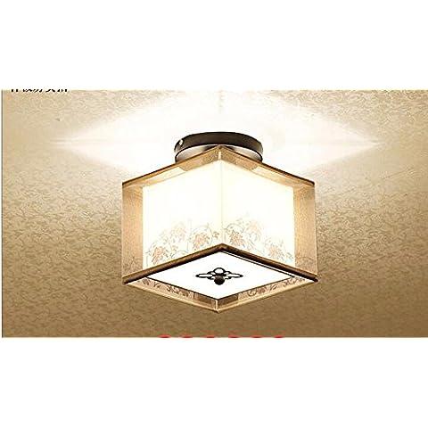 midtawer China nueva luz del pasillo de entrada de luz de techo hyun apagar las luces redondas Sello cuadrado fabrics , balcón ,1 lámpara cabeza de gasa negro cuadrado B sin el