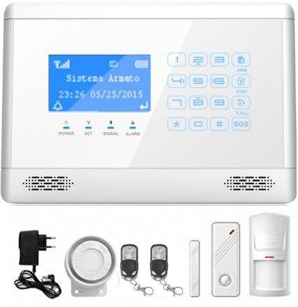 Mapishop Erika Antifurto Allarme Casa Kit nuovo modello 2018, Combinatore GSM wireless senza fili app Gratuita ios/android Touch screen, video tutorial e istruzioni in Italiano (ERIKA BIANCA)