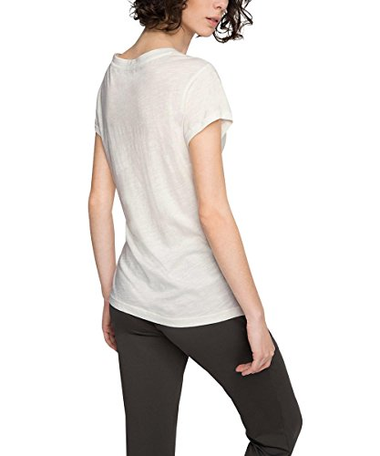 Esprit Sports Casual Slub, T-Shirt de Femme Blanc - Weiß (OFF WHITE 110)