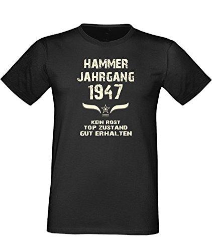Geburtstags Fun T-Shirt Jubiläums-Geschenk zum 70. Geburtstag Hammer Jahrgang 1947 Farbe: schwarz blau rot grün braun auch in Übergrößen 3XL, 4XL, 5XL schwarz-01