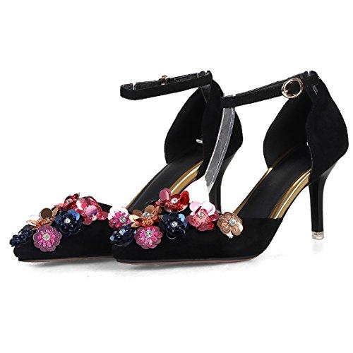 AIYOUMEI Damen Knöchelriemchen Spitz Wildleder Stiletto High Heels Pumps mit Blumen Absatz Kleinem Absatz Schuhe Q1J1Ve