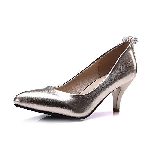 VogueZone009 Femme Pointu à Talon Correct Verni Mosaïque Tire Chaussures Légeres Doré