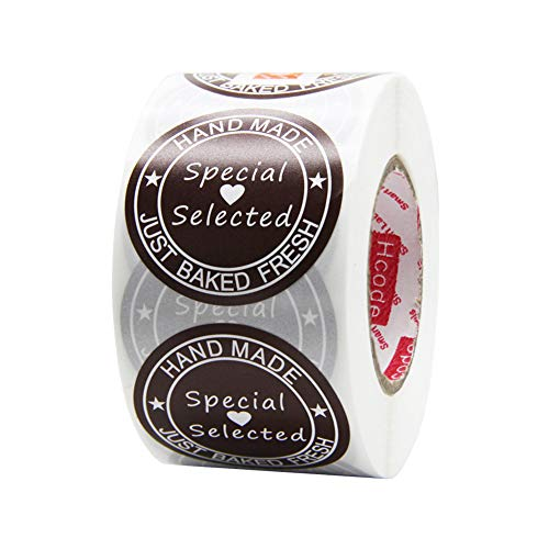Hcode 38mm Round Hand Made Just Baked Fresh and Special Selected Stickers with Heart and Stars Decorative Labels for Cake and Bread Total 500 Labels Per Roll (Paper Special Selected)