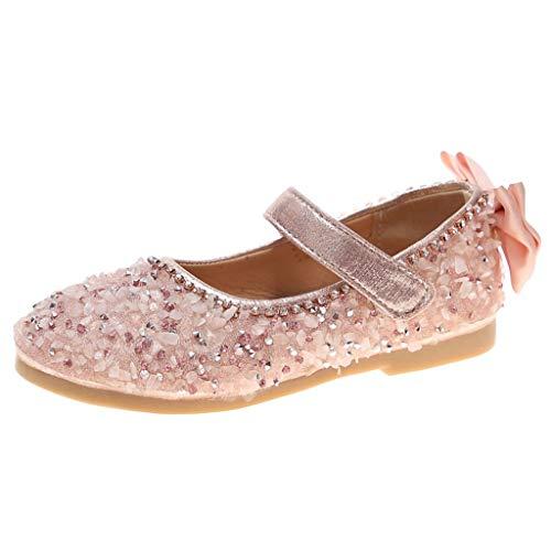 Alwayswin Mädchen Strass Prinzessin Schuhe Sandalen Bow Tanzschuhe Mode Klettverschluss Flache Schuhe Einzelne Schuhe Bequem rutschfest Mary Jane Schuhe Casual Bling Faule Schuhe