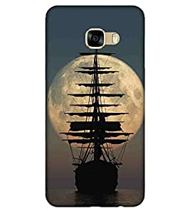 For Samsung Galaxy C9 Pro beautiful moon ( beautiful moon, boat, ship, river, sea, blue background ) Printed Designer Back Case Cover By FashionCops