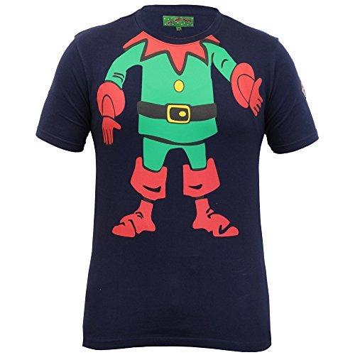 Herren Weihnachten T-shirt Ho Ho Ho Weihnachten Emoji Weihnachtsmann Elfen Rentier Neuheit Oberteil - Marineblau - ELFBODYTEE, (Galerie Größentabelle Kostüm)