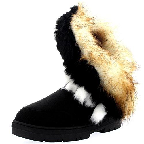 Damen Short Tassel Rabbit Pelz Gefüttert Winter Kaltes Wetter Schnee Regen Stiefel - Schwarz - BLA41 AEA0403 (Schnee Frauen Mit Fell Für Stiefel)