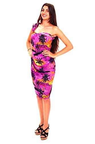 Funky Hawaii Sarong | Pareo Cover-Up | Einheitsgröße | Damen | Surf Palmen Meer | Multiple Farben Violett