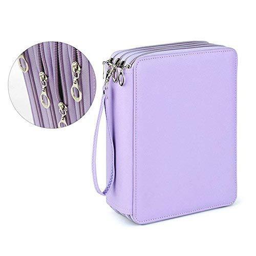 Federmäppchen aus PVC, 184 Schlitze, bunte Stifttasche, 4 Schichten, PU-Leder, handliche Bleistifttasche mit Reißverschluss, super große Kapazität violett