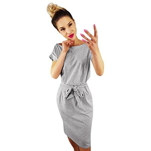 Lilicat Damen Casual Kleid Sommer Kleid Mit Tasche Damen Kurzarm Abendkleid Partykleid Minikleid Midikleid Strandkleid Retro Vintage Elegant Rundhals Kleid Sport Kleid (S, Grau) (Floral Anlass Kleid)