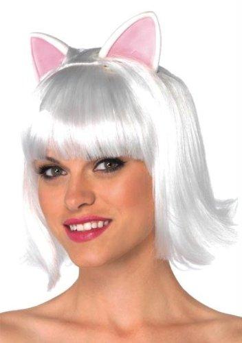 Perücke Kitty Bob Erwachsene Weiß Halloween Kostüme Cosplay Wig Perücke Haar für Maskerade Make-up - Kitty Für Make-up Halloween