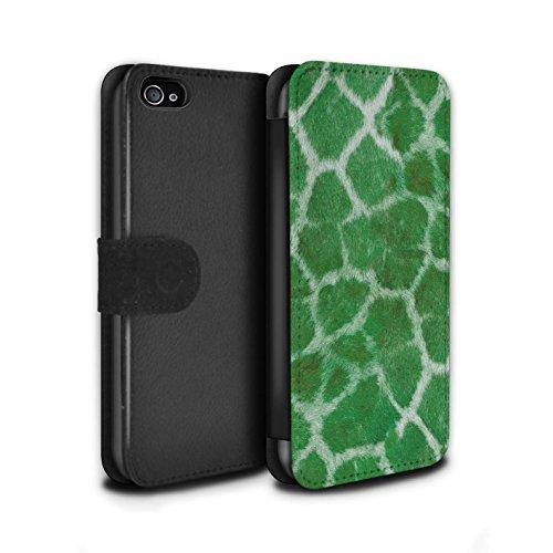 Stuff4 Coque/Etui/Housse Cuir PU Case/Cover pour Apple iPhone 4/4S / Orange Design / Girafe animale Peau/Motif Collection Vert