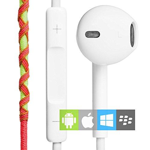 Auriculares in-ear con Cable y Micrófono Estéreo 3.5mm (control remoto integrado) | Cascos deportivos con manos libres y control de volumen amarillos y rojos | Auriculares en la oreja para el móvil, manos libres