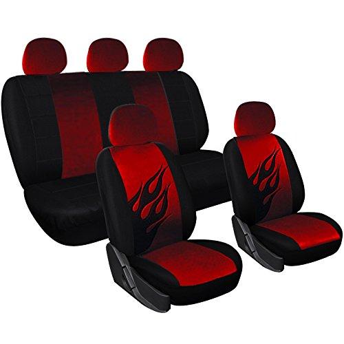 WOLTU AS7223 Sitzbezüge Auto Schonbezüge universal Größe, Drache Stickerei, schwarz-rot