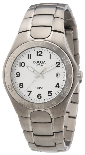 Boccia 3558-01 - Reloj analógico de cuarzo para hombre con correa de titanio, color plateado