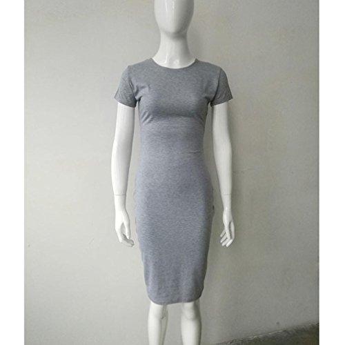 Tonsee Femmes Robes Manches Courtes Bandage Robes Moulante Vestidos Crayon Dress Gris