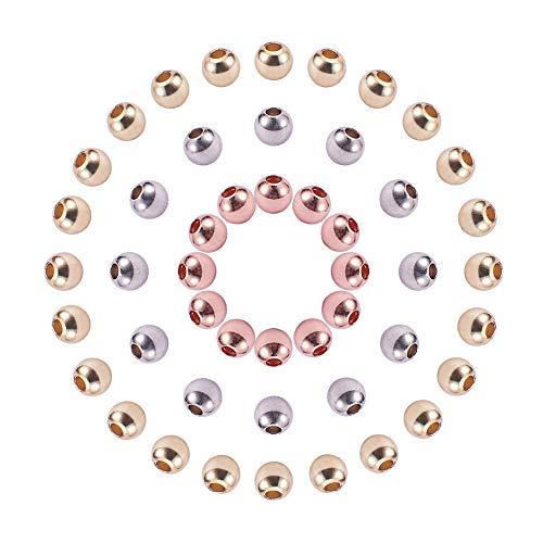 Stück Runde Umwelt Messing Perlen Rondelle Perlen mit großem Loch für DIY Schmuck Machen, Golden/Silber/Rose Gold, 4 mm, Loch: 1,5~2 mm ()
