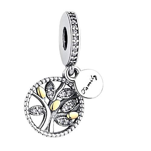 Argento sterling 925featherwish family heritage a forma di albero della vita, pendente con zirconi per braccialetti pandora e argento, colore: gold silver, cod. na
