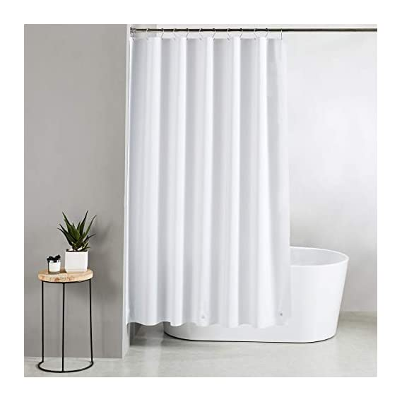 Amazon Brand - Solimo Solid 100% PEVA Shower Curtain, 72 inch x 79 inch, Frosty White