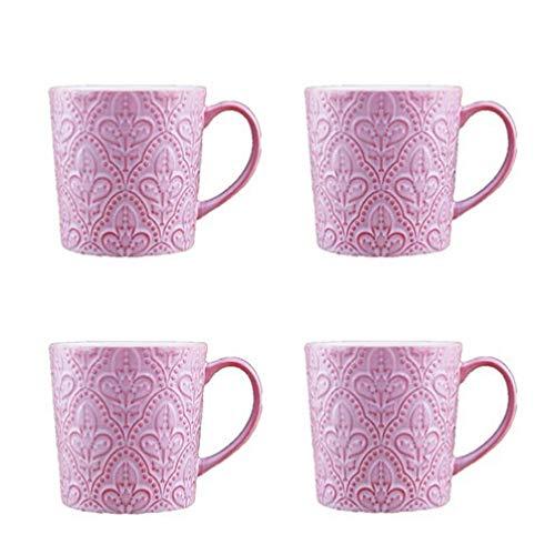 Kreative Erleichterung 10 cm x 10,2 cm große Kapazität Keramik Becher Boutique Milch Tasse Kaffeetasse Wasserflasche Paar Frühstück Tasse rosa x 4 450 ml