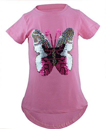 Schmetterling Kinder Mädchen Wende Pailletten Lang T-Shirt Bluse Kurzarm Tunika (116, Rosa) - Schmetterling Kurzarm-bluse