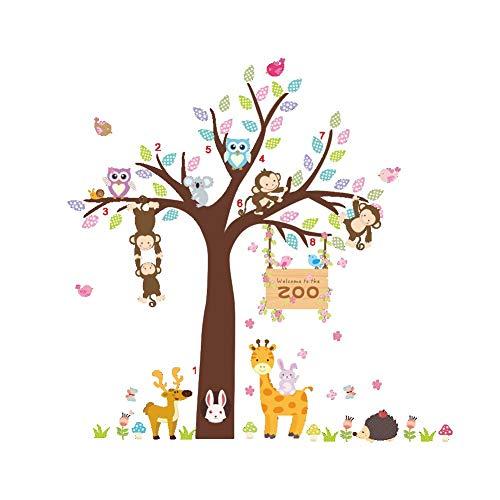 Fliyeong Premium Qualität Cartoon Tier Wandaufkleber, Baum AFFE Eule Kaninchen Aufkleber Kindergarten Kinderzimmer Dekor Größe 105 cm x 105 cm