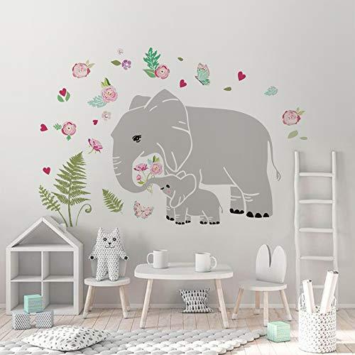 decalmile Pegatinas de Pared Familia Elefante Vinilos Decorativos Flores y Hojas Verdes Adhesivos Pared Dormitorio Guardería Habitación Bebé Sala