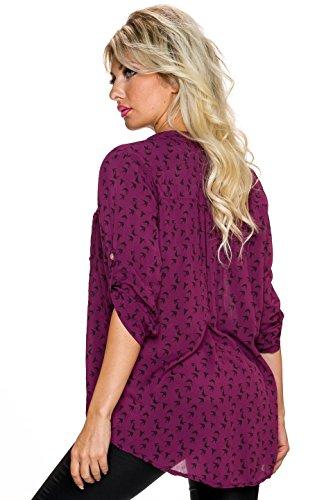 Fashion Haut femme chemise avec HIRONDELLES imprimé CALICE décolleté chemise tunique Turn en haut 3/4 manche Rouge Bordeaux