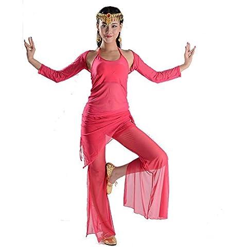 Wgwioo Bauchtanz Frauen Langärmlige Bekleidungspraxis Uniformen Netzgarn Show Übungsspiel Kostüm