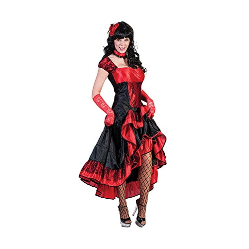 Girl Kostüm Wild (Kostümplanet® Western Saloon Girl Kleid Damen Kostüm Gruppen Damen-Kostüm Cowgirl Wilder-Westen Größe)