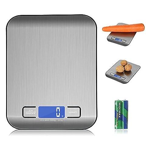 Küchenwaage Digitalwaage 5kg Edelstahl, Flach Klein Elektrisch Profi, Küche Mini
