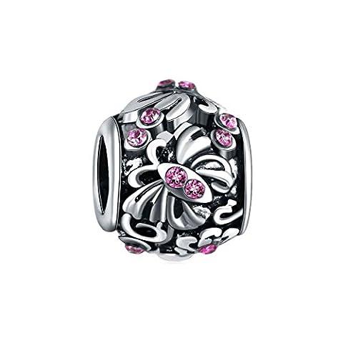 Bling Stars Butterfly Flower Charms February Birthstone Purple Crystal Beads Fits Pandora Bracelet
