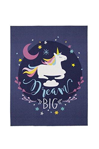 Aminata-kids Teppiche Kinderzimmer Mädchen Lila Tiere Einhorn Unicorn 95x125 cm * Made in Europe * rutsch- & lärmhemmend * Kinderteppich Dream Big Pferd Sterne Spielteppich Spielunterlage Babyzimmer