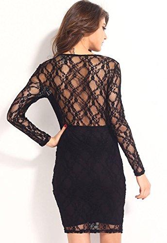 Pinkyee Damen Kleid Schwarz 2