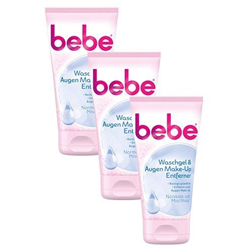 bebe Waschgel & Augen Make-Up Entferner - Sanfte Gesichtsreinigung für Normale bis Mischhaut - 3 x 150ml
