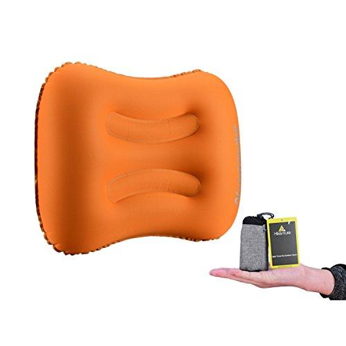 Aufblasbares Reisekissen von HikentureTM - Camping Kissen - Ultraleichtes Reisekissen - Luftkissen Nackenkissen - Camping Pillow für Camping, Reise, Outdoor, Büro (Orange)