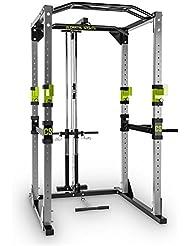 Capital Sports Tremendour Power Rack Cage à squat (rack de musculation avec barre de traction et poulie pour tractions latissimus pour tous types d'exercices, 4 barres de traction réglables) - gris & vert