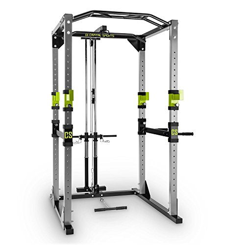 Capital Sports Tremendour Power Rack - Power Cage, Kraftstation, mit Latzugturm, 2 x Safety Spotter: 20-stufig, 4 x J-Hooks, Multigripp-Klimmzugstange, Stahl-Kantrohrrahmen, Silber