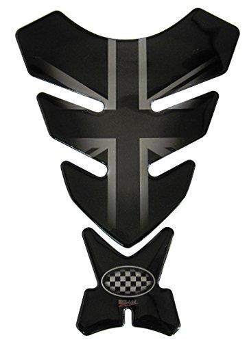Protège-réservoir 3D - 500720 - Union Jack Silver/Drapeau Angleterre/Racing/Aspect argenté et noir - Universel pour réservoirs Yamaha, Honda, Ducati, Suzuki, Kawasaki, KTM, BMW, Triumph et Aprilia